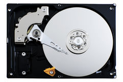 Open hard drive unit isolated Royalty Free Stock Images