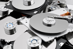 Open hard drives in bulk. Open new computer hard drives in bulk Stock Photos