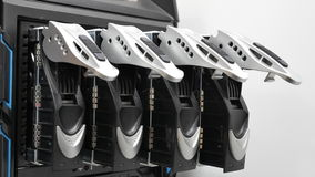 Open hard drives in a RAID configuration Stock Image