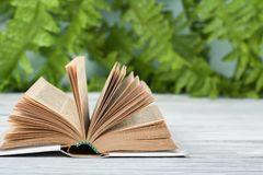 Open hardback book, on wooden table. natural background . Back to school. Copy space for text. stock images