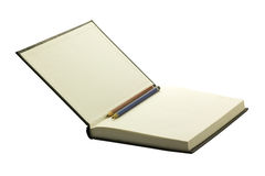 Open hardcover and empty notebook with two pencils Stock Images