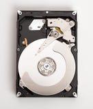Open harddisk on desk. Stock Photo