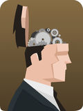 Open head gears. Businessman Thought Thinking Gear Mechanism. Vector illustration cartoon, with opened businessman head showing mechanism system royalty free stock photo
