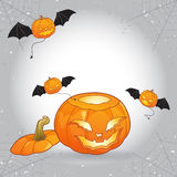 Open head Halloween pumpkin with flying pumpkin monsters Royalty Free Stock Photos