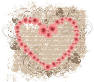 Open heart pink roses love poem valentine Stock Images