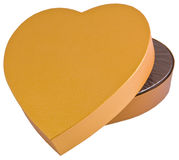 Open heart shaped golden chocolate box isolated Royalty Free Stock Photo