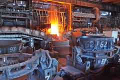 Open-hearth workshop. Of metallurgical plant royalty free stock photography