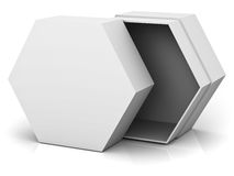 Open hexagon box with blank lid cover  on white background Stock Photos