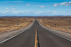 Open highway in New Mexico. Open deserted HWY 82 between Artesia and Cloudcroft in New Mexico, USA royalty free stock images