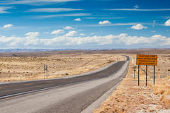 Open highway in New Mexico. Open deserted HWY 82 between Artesia and Cloudcroft in New Mexico, USA stock photography
