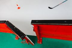 Open hockey barrier on stadium - Let`s go to train hockey match royalty free stock images