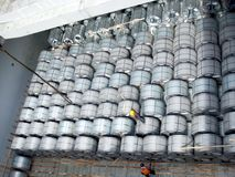 Be ready to discharge steel coils. Royalty Free Stock Photo