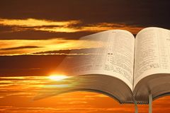 Free Open Holy Bible Scripture Book God Christ Jesus Jah Jehovah Yahweh Sky Clouds Psalms Stock Photos - 159631873