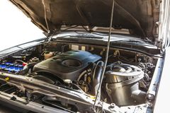 Free Open Hood On 2500 Cc. Diesel Turbo Engine Pickup Truck In Detail Stock Photography - 131644392