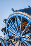 Open horse buggy,wagon,wheel. Close-up of an old antiquex blue painted buggy Stock Images