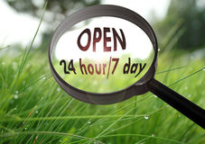 Open 24 hour/7 day Stock Photo