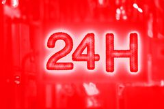 Open 24 hour, market, pharmacy, hotel, petrol station, gas station. Open 24 hours advertisement to show into market, pharmacy, hotel, petrol station, gas station Stock Photos