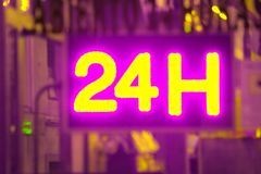 Open 24 hour, market, pharmacy, hotel, petrol station, gas station. Open 24 hours advertisement to show into market, pharmacy, hotel, petrol station, gas station Stock Image