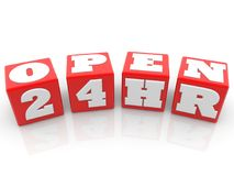 Open 24 hours concept on red cubes. In backgrounds Stock Photography