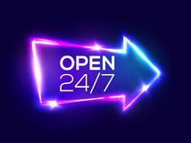 Open 24 7 Hours. 3d Retro Light Bar Arrow Pointer. Open 24 7 Hours. Night Club Neon Sign. 3d Retro Light Bar Arrow Pointer With Neon Effect. Techno Frame On Dark Royalty Free Stock Images