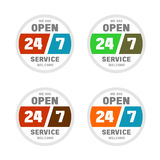 Open 24 hours a day and 7 days week. Open 24 hours a day and 7 days a week service sticker Stock Image
