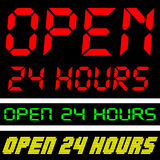 Open 24 Hours. Drawing three different digital displays in more colors Royalty Free Stock Photos
