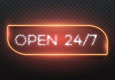 Open 24 Hours Glowing Neon Frame. Illustration of Vector Retro Neon Sign. Open 24 Hours Glowing Neon Frame. 24 7 Realistic Neon Sign Royalty Free Stock Images