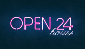 Open 24 hours glowing neon light street sign. Vector illustration of Open 24 hours glowing neon light street sign on dark textured background Royalty Free Stock Photos