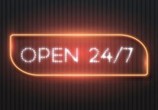 Open 24 Hours Glowing Neon Sign. Illustration of Vector Neon Sign. 24 7 Retro Neon Frame. Open 24 Hours Glowing Neon Sign Stock Photo