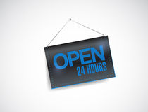 Open 24 hours hanging banner illustration design. Over white Stock Photos