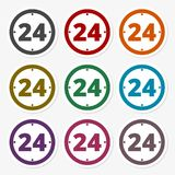 Open 24 hours icons set. Vector icon Royalty Free Stock Images