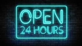 Open 24 hours neon light on brick wall stock video