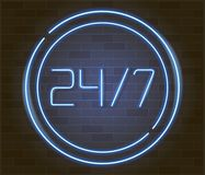 Open 24 7 Hours Neon Light on Brick Wall. 24 Hours Night Club Bar Neon Sign. Vector Illustration Stock Photo