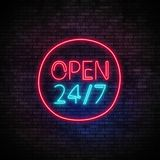 Open 24 7 Hours Neon Light on Brick Wall. 24 Hours Night Club Bar Blinking Electric Sign. 3d render illustration Stock Images