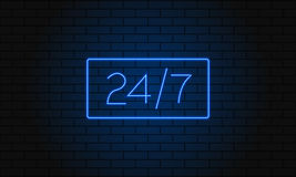 Open 24 7 Hours Neon Light on Brick Wall. Vector Illustration. 24 Hours Night Club Bar Neon Sign. Stock Photography