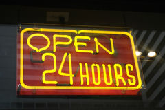 Open 24 hours Neon Sign Stock Photography