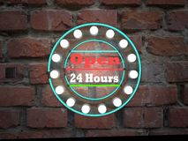 Open 24 hours neon text sing on brick wall business background. Open 24 hours neon text sing on brick wall business backgrounds Royalty Free Stock Photo