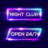Open 24 7 Hours. Night Club Neon Sign. 3d Retro Light Bar Glowing Set With Neon Effect. Techno Frames On Dark Blue Backdrop. Electric Street Banners Design Stock Images
