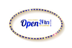 Open 24 hours oval glow sign. Vector neon sign with type Open and 24 hours sign. Red and blue and yellow neon lights. On a white background Stock Image