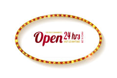 Open 24 hours oval glow sign. Vector neon sign with type Open and 24 hours sign. Red and blue and yellow neon lights. On a white background Royalty Free Stock Photos