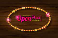 Open 24 hours oval glow sign. Vector neon sign with type Open and 24 hours sign. Red and blue and yellow neon lights. On wooden background Stock Photo