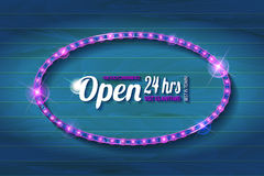 Open 24 hours oval glow sign. Vector neon sign with type Open and 24 hours sign. Red and blue and yellow neon lights. On wooden background Stock Photos
