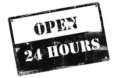 Open 24 Hours plate, illustrated with grunge textures Royalty Free Stock Image