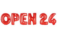 Open 24 hours, red color. Red alphabet balloons, open 24 hours, red number and letter balloon stock image