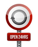 Open 24 hours road sign illustration design. Over white Royalty Free Stock Images