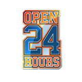 Open 24 Hours. Sign  Athletic Style Stock Photo