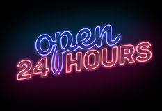 Open 24 Hours Sign on the Black Background. Blue and Red Neon Light Open 24 Hours Sign on the  Black Background Royalty Free Stock Photos