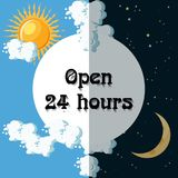 Open 24 hours sign. Day and night concept. Cartoon vector illustration Royalty Free Stock Photos