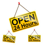 Open 24 hours sign message symbol. Set of open 24 hours text message on yellow hanging pin sign vector illustration Stock Photo
