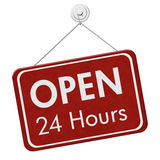 Open 24 Hours Sign. A red hanging sign with text Open 24 Hours isolated over white Royalty Free Stock Image